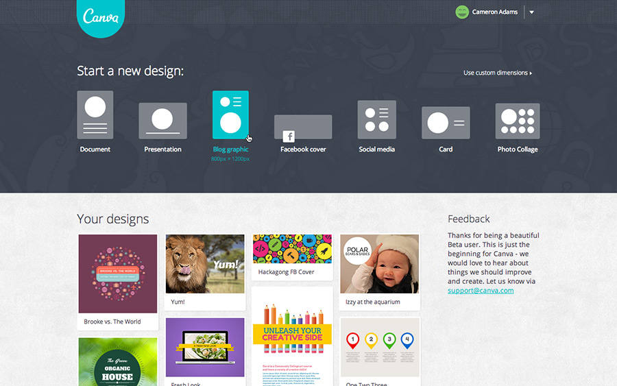 canva project select