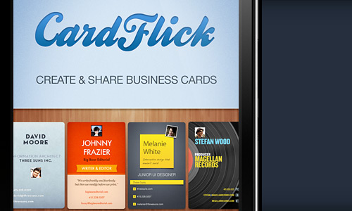 Cardflick new startups founded by ketan anjaria is an app that will be coming to your iphone and android which will allow you to create and share digital business cards colourmoves