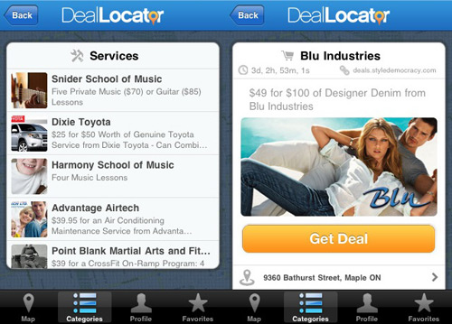 DealLocator on the iPad