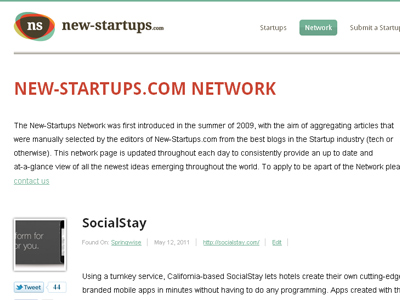 New-Startups.com Network Page