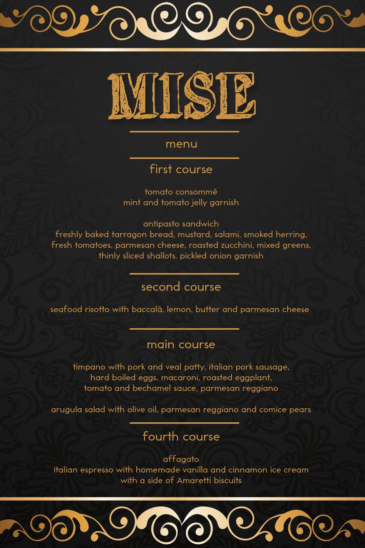 mise menu big night