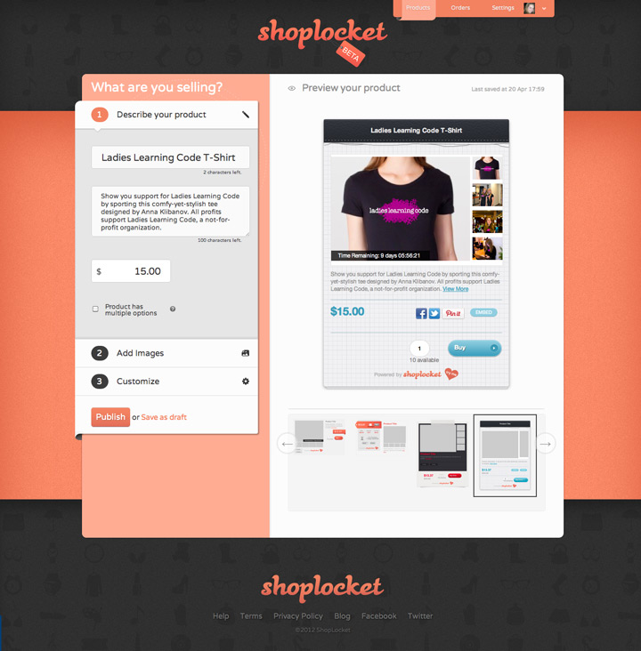 shoplocket interface