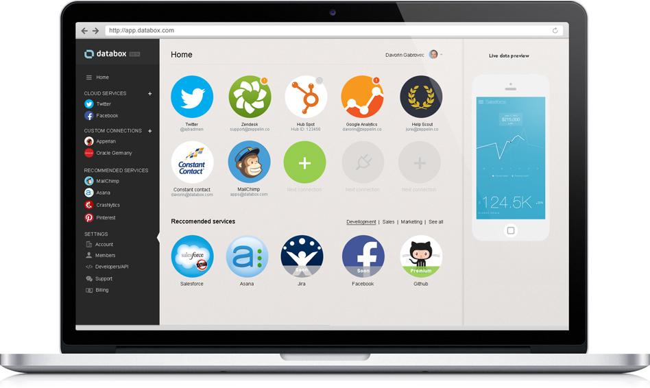Databox webapp screen